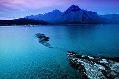 Midnight at Lake Minnewanka (Anne Strickland) Tags: longexposure nightphotography banff albertacanada lakeminnewanka 3exposurehdr annestrickland banffnationalforest