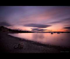 Beautifully Imperfect (Chee Seong) Tags: camera uk longexposure reflection clouds canon bag boats evening bay scotland sand village crumpler hoya firthofforth falkirk blackness nd400 canon1740mm 5dm2 explore23thanks