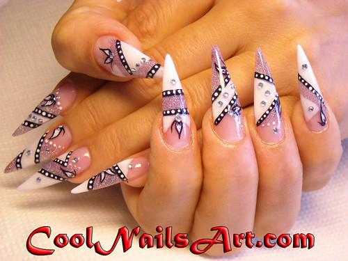 acrylic nail art. Pointed Tip Acrylic Nail Art