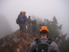 Part of the group pausing before the next steep section