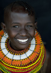 Smiling Turkana girl with giant bead necklances - Kenya (Eric Lafforgue) Tags: africa portrait people face beads kenya culture tribal human tribes bead afrika tradition tribe ethnic tribo gens visage afrique ethnology tribu eastafrica beadednecklace qunia 6896 lafforgue ethnie  qunia    beadsnecklace kea   humainpersonne a