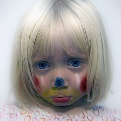 Sad Clown (::big daddy k::) Tags: blue red cute beautiful face yellow paint sad clown frankie explore frontpage sadclown mylittlegirl project365 project3661 mylittleactress
