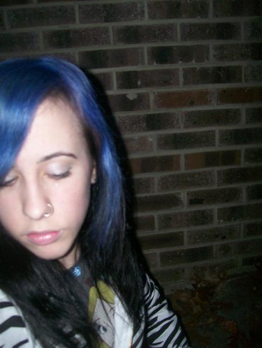 dark hair with purple tips. blue amp; black