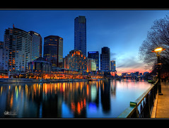 Yarra Sunset II - HDR (Dale Allman) Tags: longexposure blue sunset reflection nature water skyline clouds skyscraper canon lights australia melbourne wideangle victoria southbank lamppole hdr 1740 eurekatower yarrariver 3xp photomatix 5dmkii trinitypedestrianbridge daleallman