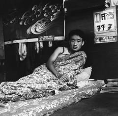 Hunger striker, Gangtok, Sikkim. (ndnbrunei) Tags: travel blackandwhite bw 120 6x6 tlr film rollei mediumformat square kodak bn mf sikkim xenar rolleicord classicblackwhite autaut rolleigallery ndnbrunei