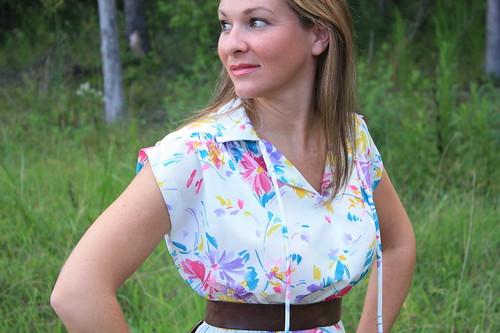 1980s Sheer Floral Dress