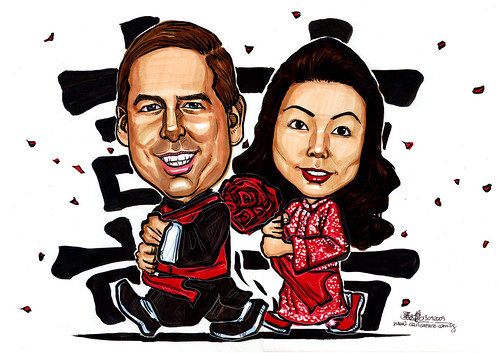 Wedding couple caricatures in traditional Chinese Kua
