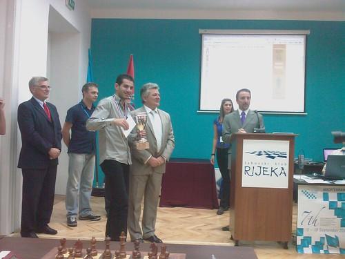 El gran mestre egipci Ahmed Adly, vencedor del torneig...