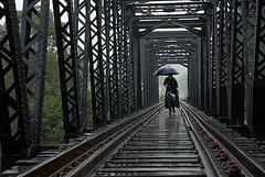 Passagem/ Passage (Lucille Kanzawa) Tags: bridge brazil rain brasil umbrella chuva ponte guardachuva guararema lucillekanzawa