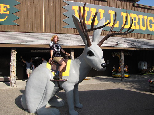 Becky riding a jackelope