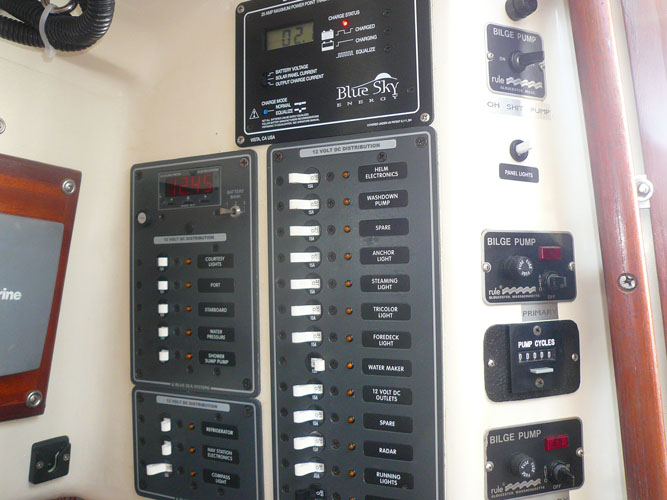 Another shot of the electrical panel and bilge pump controls.  Blue Sky charge controller up top.