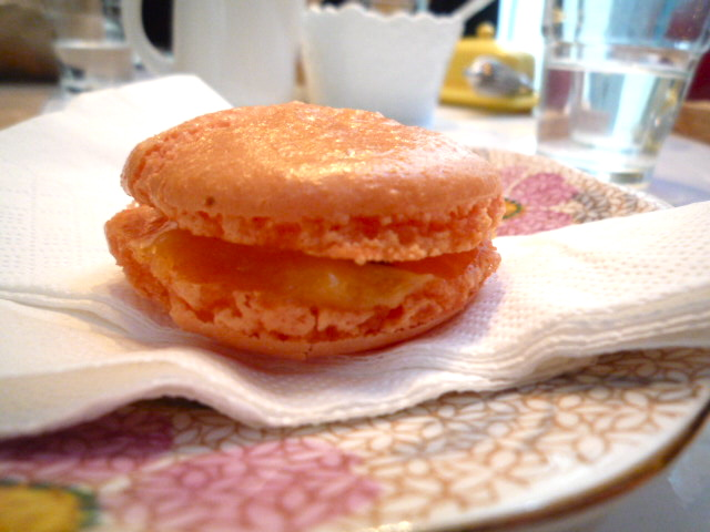 Orange and passionfruit macaron