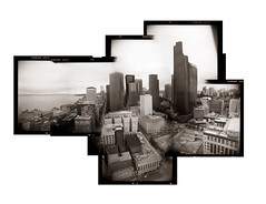 The Dancing buildings of the Emerald City (Zeb Andrews) Tags: seattle city urban film composite architecture buildings washington holga downtown cityscape toycamera pacificnorthwest northamerica kodaktrix pugetsound toned emeraldcity holgarama bluemooncamera zebandrewsphotography