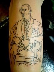picasso tattoo (Tattoo Culture) Tags: nyc tattoo brooklyn tribal williamsburg lettering japanesetattoo tattooculture americanatattoo genecoffey blakandgreytattoo