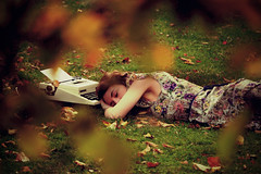 lay me down in your warm embrace (Jenny Stone) Tags: autumn girl grass leaves typewriter warm sleep rest laymedown liedown warmembrace
