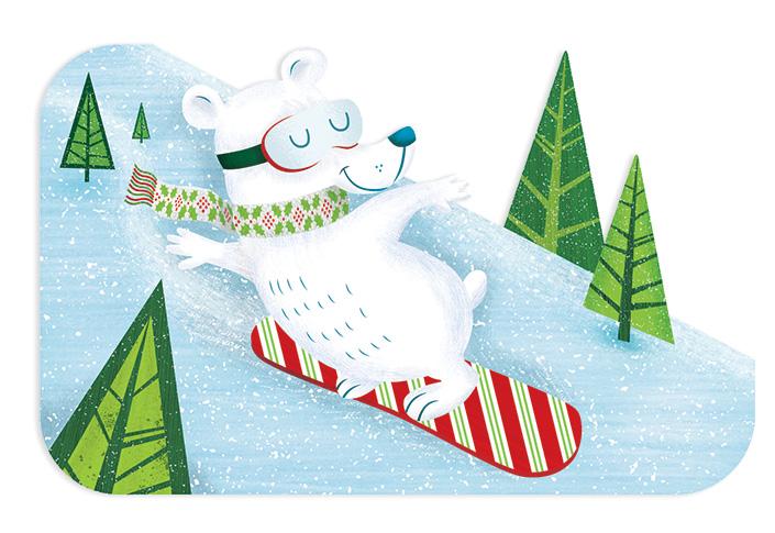 Target Gift Card: Snowboarding Bear Die-cut