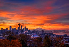 Seattle Autumnal Sunrise HDR (Fresnatic) Tags: seattle autumnfoliage photoshop sunrise washington skies pacificnorthwest spaceneedle kerrypark hdr cloudscapes photomatix lightroom2 concordians canonrebelxsi fresnatic