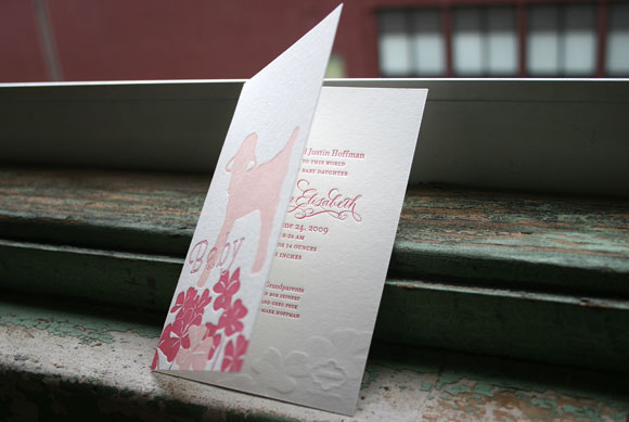 Smock Letterpress Pink Baby Announcement