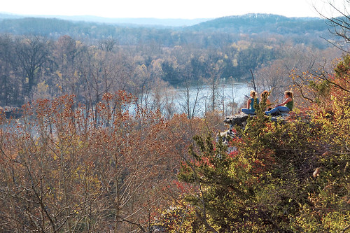 Castlewood State Park, in Saint Louis County, Missouri, USA - girls sitting on ledge