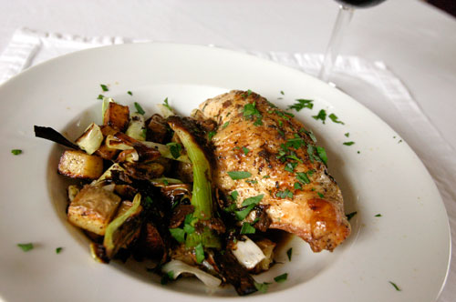 Chicken with leeks and potatoes
