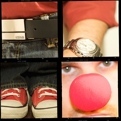 324/365 - casual friday (djdphotos) Tags: red selfportrait belt nikon clown watch jeans sp converse hightops chucktaylors allstars reaction quadtych clownnose esq shoelaces kennethcole hitops d90 vanheusen sevenjeans project365 ohyeahbiatchesijustmadethatup