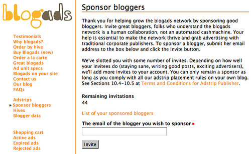 Free Invites for the BlogAds Network 1