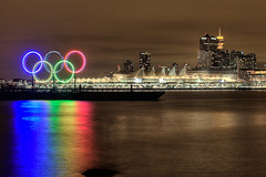 Olympic-Rings (GenoDM) Tags: ocean park longexposure winter light sky canada reflection beautiful rain night vancouver clouds canon point landscape lights hotel harbor pier seaside lowlight marine rocks bc place pacific harbour britishcolumbia unique tide rings stanley convention stanleypark pan olympic olympics coal piling tidal barge hdr province coalharbour 2010 coalharbor vancouversun winterolympics 2010olympics brocton 2010winterolympics olympicrings vancouverprovince explored upcoming:event=5343207