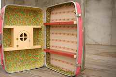 Suitcase Shelves (Skunkboy Creatures.) Tags: tree vintage diy handmade birdhouse fabric shelving shelves suitcases skunkboycreatures