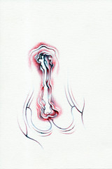 whispering-eye (diversionmary) Tags: blue red black doodle vagina sharpie ballpoint