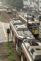 Busy LRT scene, Ping Ha Road, Yuen Long, Hong Kong (Daryl Chapman Photography) Tags: train canon hongkong crossing tram sigma 7d lrt mtr yuenlong 1770mm pingharoad