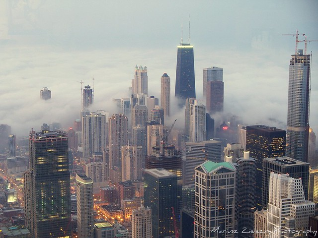 Chicago fog in sunset