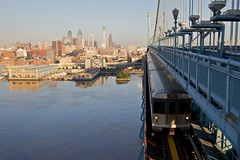 PATCO train crossing the Ben Franklin Bridge (Fordan) Tags: bridge philadelphia train benfranklinbridge patco delawareriver benjaminfranklinbridge ef24105mmf4lisusm