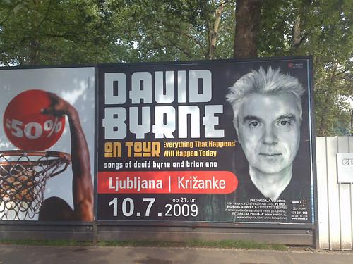 David Byrne. Ljubljana, Slovenia. Poster.
