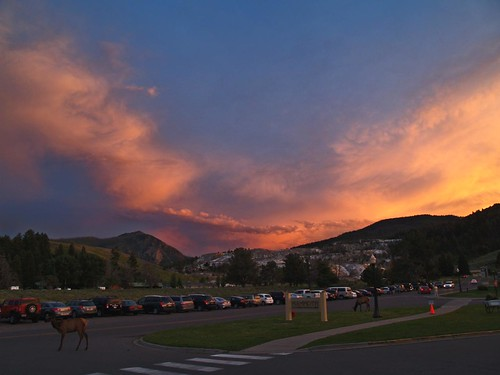 sunset at mammoth hot springs