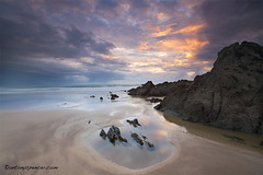 Morthoe sunset (antonyspencer) Tags: uk travel sunset summer seascape west reflection beach landscape coast sand path south north devon pools spencer antony rugged woolacombe morthoe superaplus 5dmkii