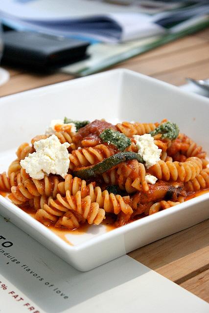 Pasta Pomodoro (S$12.80): Fusili in tomato sauce with zucchini, eggplant, fresh ricotta and basil