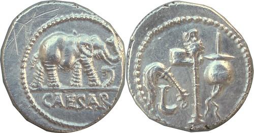 443-01-09192-39-CAESAR Julius Caesar Gaul mint 49BC Elephant snake Simpulum sprinkler axe apex Denarius