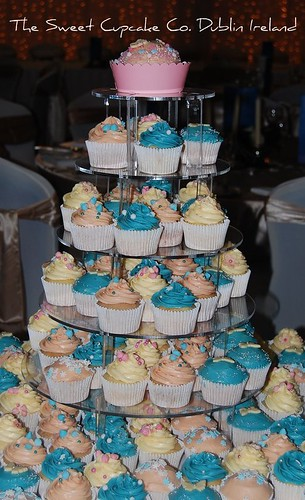 Wedding cupcakes in pink blue and ivory.