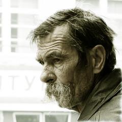 A portrait of an Ukrainian man (Che-burashka) Tags: street old portrait people man beard candid profile streetphotography ukraine wrinkles theface mustach notshaved vinnitsa