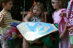 I love how kids hover during gifts (MelanieF) Tags: birthday party water cake balloons cupcakes cookie mermaids theme oysters snacks mermaid