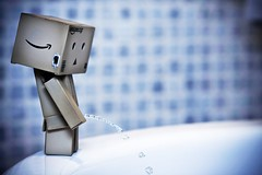 Danbo drank a lot (dariogiannelli) Tags: blue canon bath toilet explore piss frontpage f28 danbo 2470 40d dariogiannelli speedlite430exii updatecollection