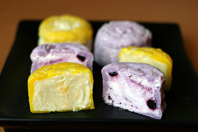 Durian and Blueberry snowskin mooncakes