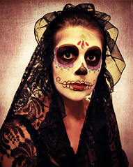Long Black Veil (oNe.SwEeT.wOrLd) Tags: selfportrait dayofthedead nikon yum explore facepaint sugarskull longblackveil nikond60 selfportraitchallenge myfaceismycanvas 2009halloweencostume peterpanreducedfatpeanutbutterinsteadofspiritgum davematthewsbandcoversong goingforacatholicmexicanprayercandlekindofthing monarchimages