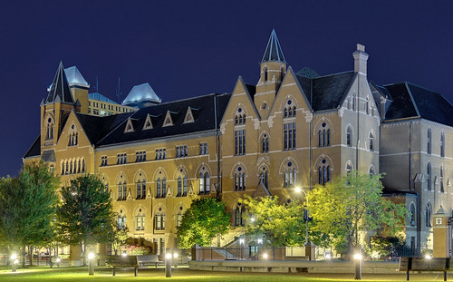 DuBourg Hall, Saint Louis University, in Saint Louis, Missouri, USA - view at night