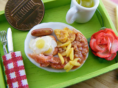 Happy English Breakfast (Shay Aaron) Tags: wood food house flower green scale kitchen coffee rose fruit breakfast miniature bacon beans healthy doll tea handmade aaron sausage fake mini polymerclay fimo fries tiny pear brunch faux shay tray 12th 112 sunnysideup omelet dollhouse petit lipton twelfth shayaaron lunchbreakbreakfastinbed