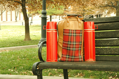 Lumberjack Plaid Thermos Picnic Set