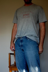 jeans and t-shirt (Caution under these clothes I have nothing on) (George has Confessions to show) Tags: man male me self nude tease shameless