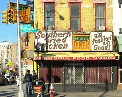 Southern Fried Chicken, M&G Soul Food Diner, Harlem NYC (jag9889) Tags: city nyc people food signs ny newyork restaurant closed harlem manhattan diner streetscene soul pedestrians 2009 counterculture mgdiner southernfriedchicken y2009 oldfahionbutgood jag9889
