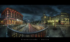 Grunerstrae, Berlin (d.r.i.p.) Tags: longexposure bridge panorama berlin alex architecture night germany deutschland lights nikon nightimages nacht widescreen drip alexanderplatz architektur fernsehturm bluehour alexa brcke mitte 180 hdr hdri nachtaufnahme 14mm photomatix d80 hdrpanorama berlinhdr vertorama 1424mm grunerstrase 1424mm28 reflectyourworld
