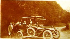 Victor and family in old car